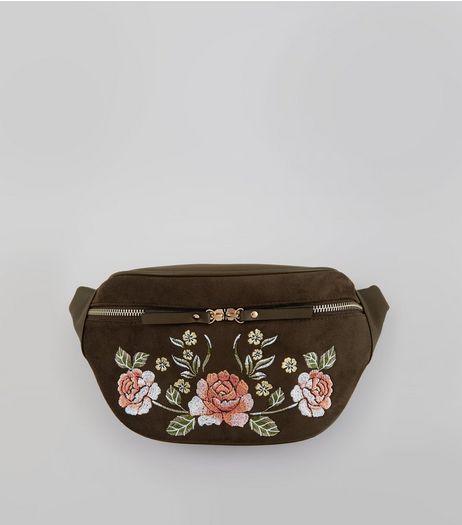 Khaki Floral Embroidered Bumbag | New Look