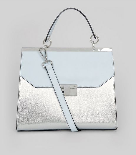 Silver Metallic Handle Top Shoulder Bag | New Look