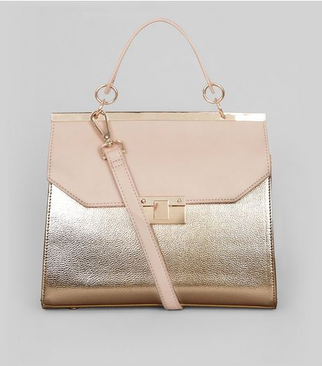 Rose Gold Metallic Handle Top Shoulder Bag | New Look