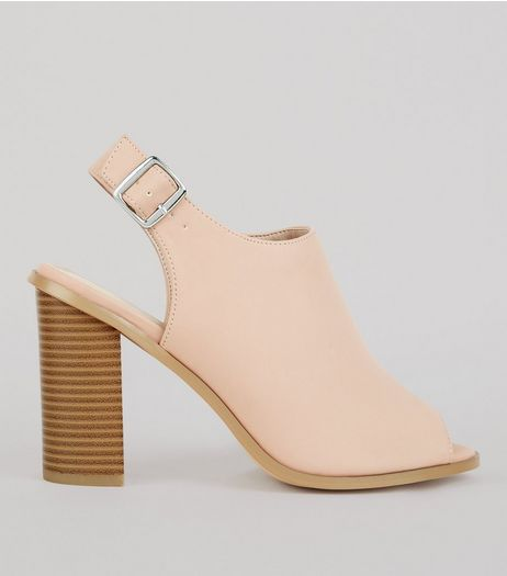 Wide Fit Nude Pink Suedette Peep Toe Heels | New Look