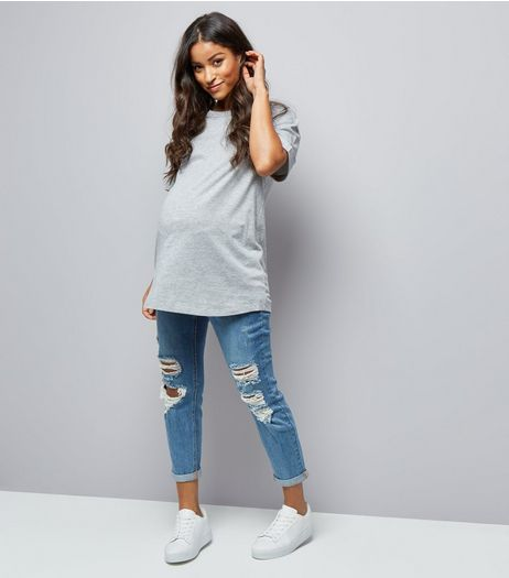 Maternity Blue Ripped Under Bump Mom Jeans | New Look