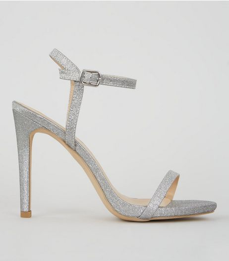 Glitter Silver Ankle Strap Heeled Sandals | New Look
