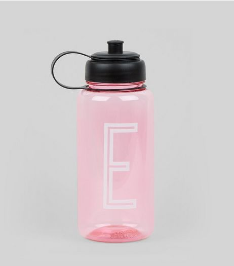 Pink Initial E Water Bottle | New Look
