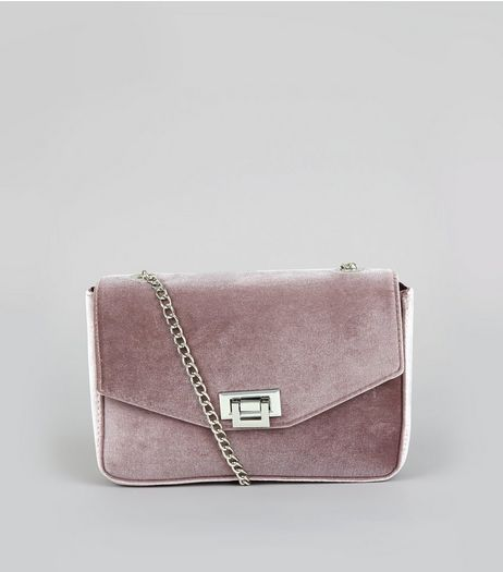 Grey Velvet Lock Front Shoulder Bag | New Look