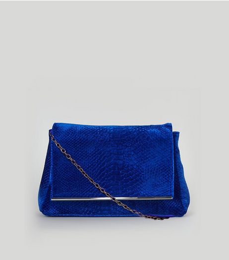 Blue Velvet Snakeskin Textured Shoulder Bag | New Look