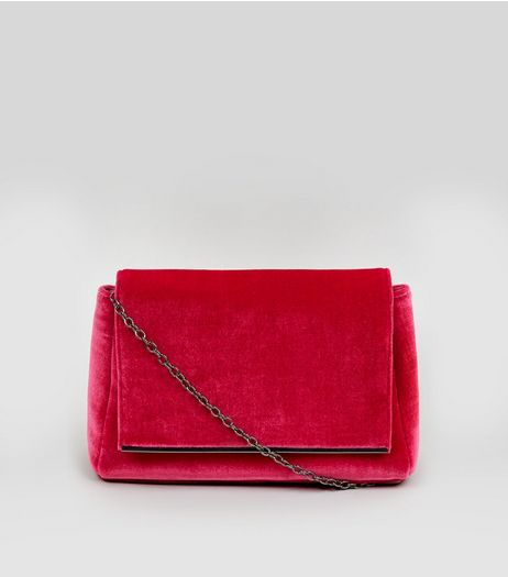 Pink Velvet Snakeskin Textured Shoulder Bag | New Look