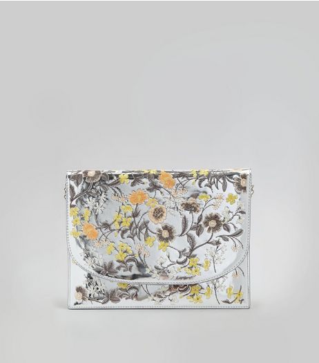 Silver Floral Embroidered Clutch Bag | New Look