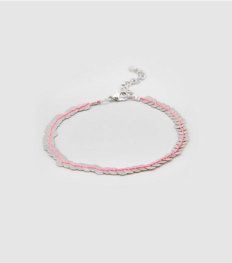 Silver Metal Sequin Thread Anklet | New Look