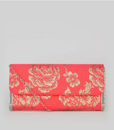 Orange Floral Brocade Metal Trim Clutch | New Look