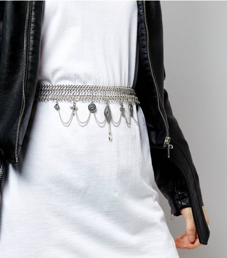 Silver Charm Drop Chain Belt | New Look