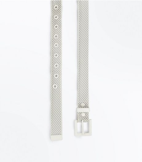 White Metal Jeans Belt  | New Look