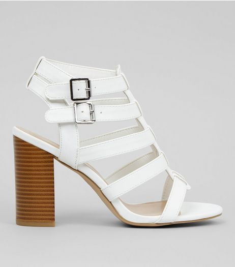Wide Fit White Gladiator Block Heels | New Look