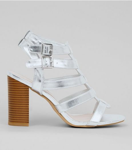 Wide Fit Silver Gladiator Block Heels | New Look