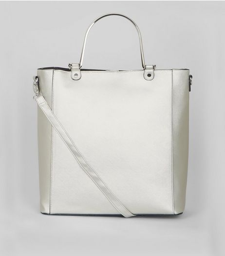 Silver Metal Handle Shopper Bag | New Look