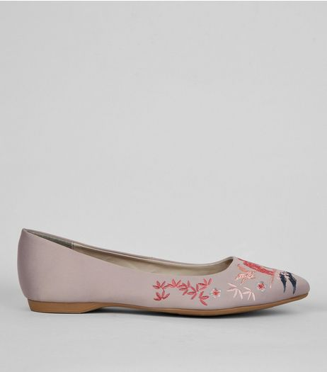 Wide Fit Grey Satin Embroidered Pointed Pumps | New Look