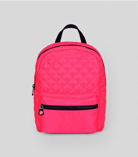 Neon Pink Quilted Backpack | New Look