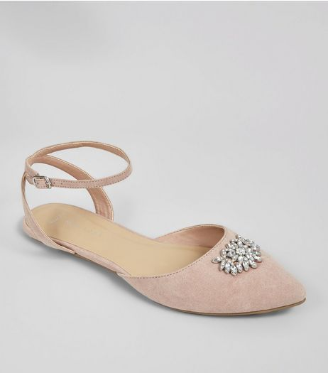 Wide Fit Pink Suedette Gem Brooch Pointed Pumps | New Look