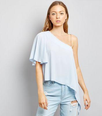 Pale Blue Off the Shoulder Blouse