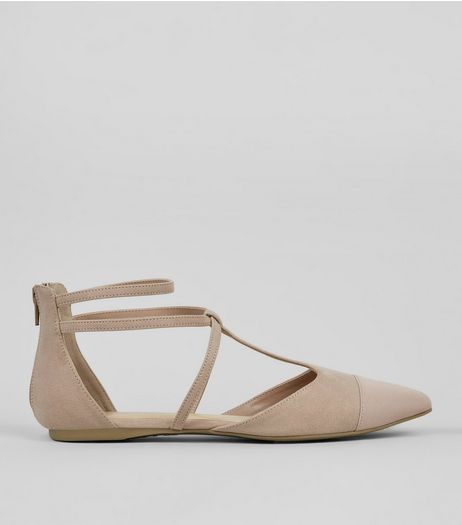 Wide Fit Nude Pink Suedette Strappy Sandals  | New Look