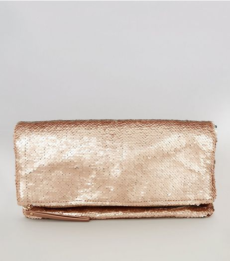 Rose Gold Sequin Fold Over Shoulder Bag | New Look