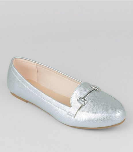 Wide Fit Silver Loafers | New Look