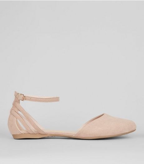 Wide Fit Nude Pink Strap Back Sandals | New Look