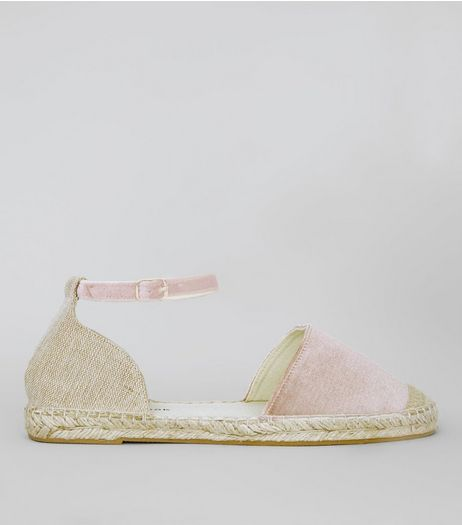 Wide Fit Pink Velvet Espadrilles | New Look
