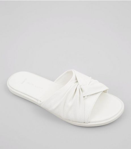 Wide Fit White Knot Top Sliders | New Look