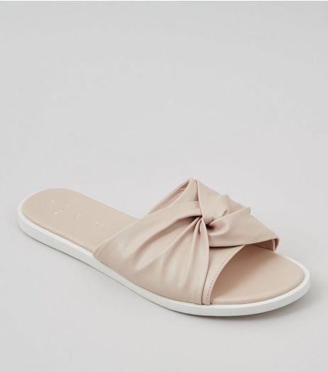 Wide Fit Nude Pink Knot Top Sliders | New Look