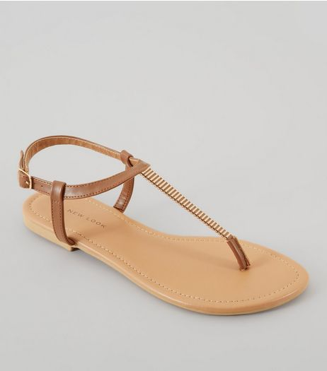 Wide Fit Tan Metal Trim Toe Post Sandals | New Look