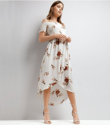Parisian White Floral Pint Dip Hem Bardot Neck Dress | New Look