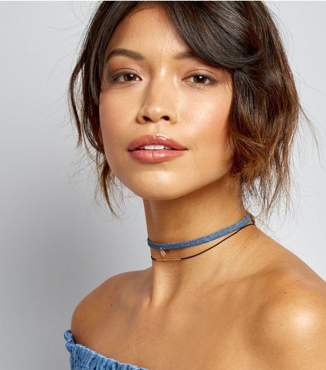 2 Pack Denim Bar and Disc Chokers | New Look
