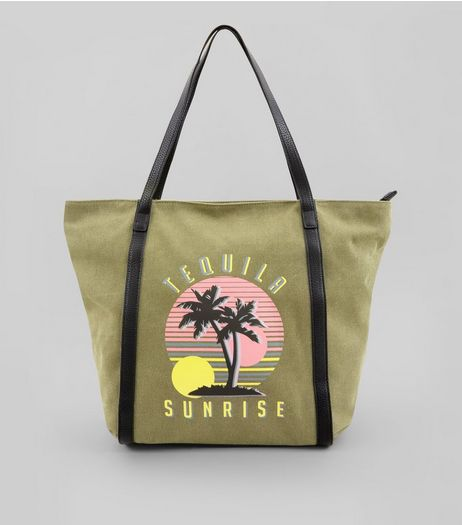 Khaki Tequila Sunrise Contrast Printed Canvas Tote | New Look