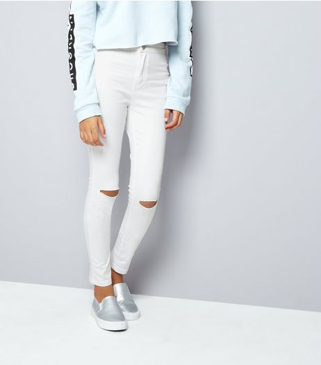 Teens White Ripped Knee High Waist Skinny Jeans | New Look