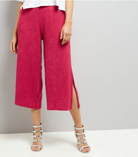 Bright Pink Textured Wide Leg Cropped Trousers | New Look