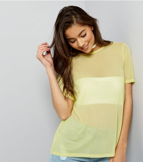 Yellow Mesh Short Sleeve T-Shirt  | New Look