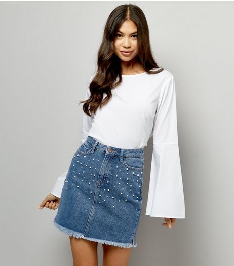 Blue Pearl Embellished Denim Skirt | New Look