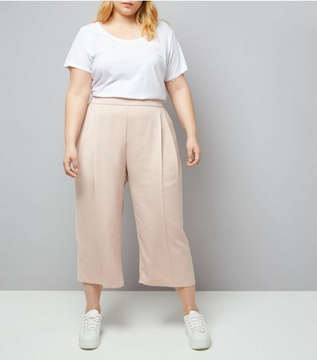 Curves Shell Pink Sateen Cropped Trousers | New Look
