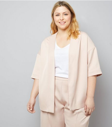 Curves Shell Pink Satin Kimono | New Look