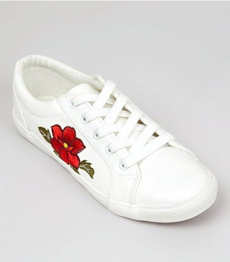 Wide Fit White Floral Embellished Lace Up Trainers | New Look