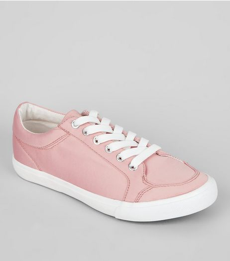 Wide Fit Pink Satin Lace Up Trainers | New Look