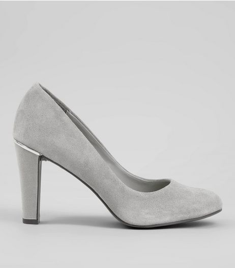 Grey Comfort Suede Metal Trim Court Shoes | New Look