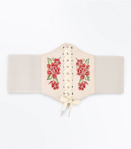 Cream Floral Embroidered Corset Belt | New Look