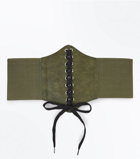 Khaki Lace Up Corset Belt | New Look