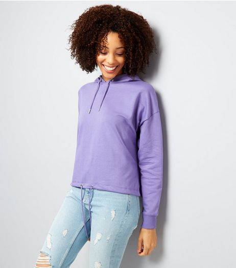 Purple Drawstring Cropped Hoodie | New Look