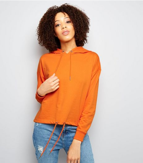 Orange Drawstring Cropped Hoodie | New Look