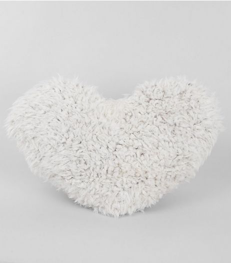White Faux Fur Heart Cushion  | New Look