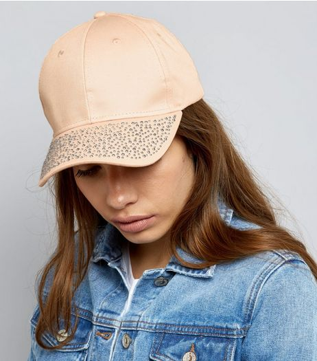 Pink Diamante Peak Cap | New Look
