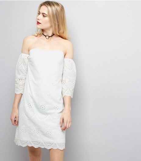Parisian White Embroidered Bardot Neck Dress  | New Look