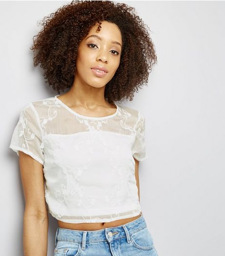 Parisian White Embroidered Crop Top  | New Look